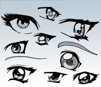 Sample of anime-esque eyes from a brush set