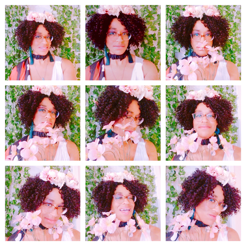 9-image collage of me as a flower butterfly fairy with pink flowers and longer, curly hair